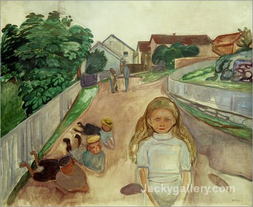 Children Playing in the Street in Asgardstrand by Edvard Munch paintings reproduction