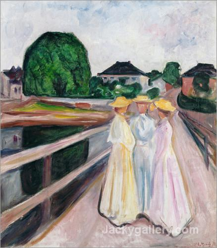 Drei Madchen auf der Brucke. Um by Edvard Munch paintings reproduction