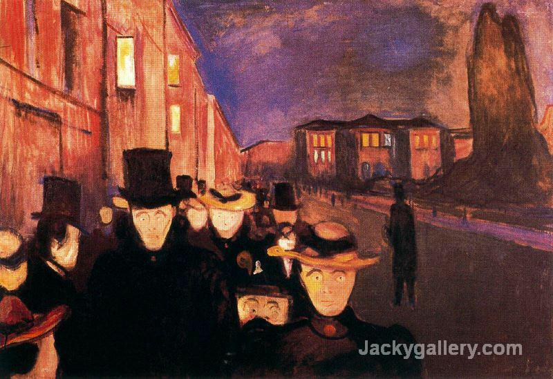 Evening on Karl Johan Street by Edvard Munch paintings reproduction