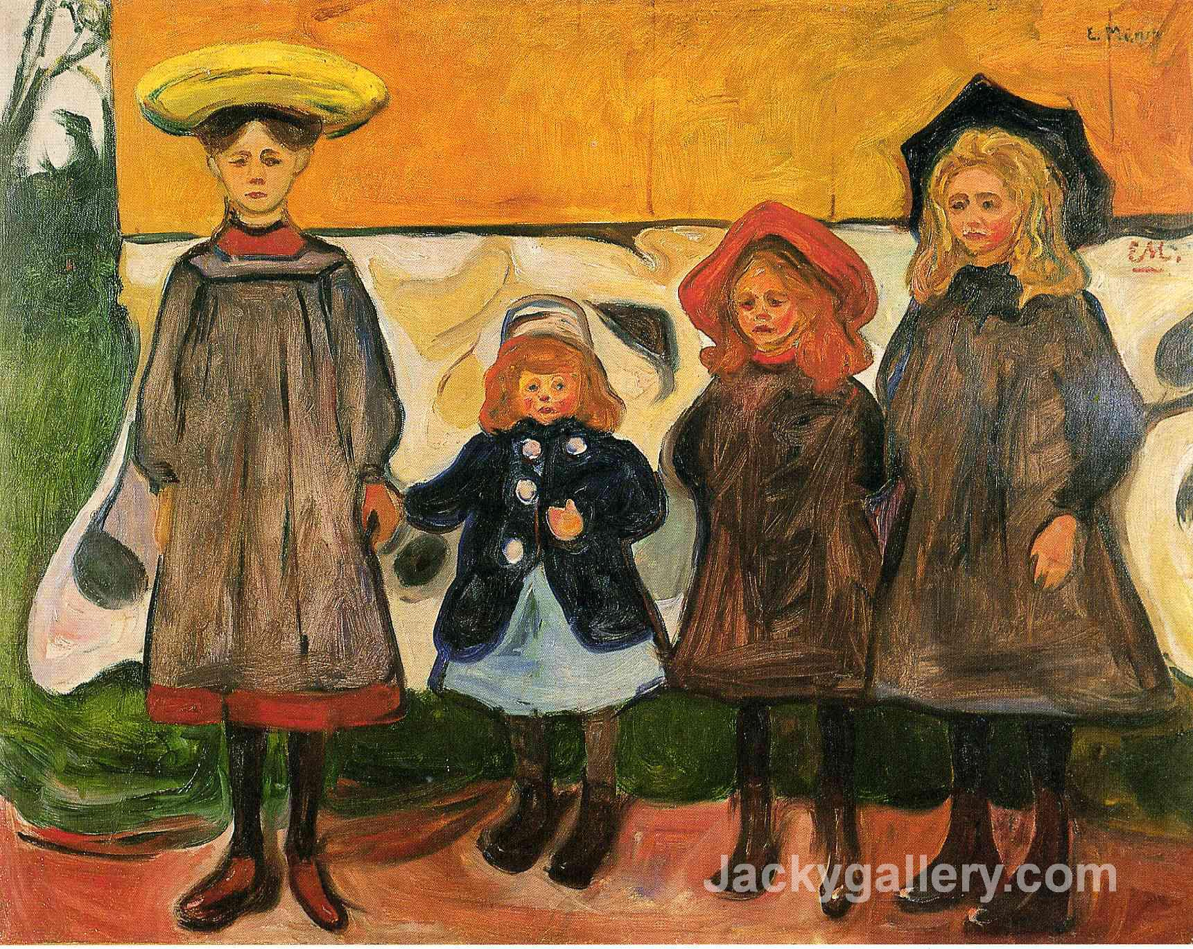 Four girls in Arsgardstrand by Edvard Munch paintings reproduction