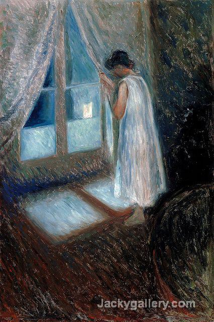 Girl Looking out the Window by Edvard Munch paintings reproduction