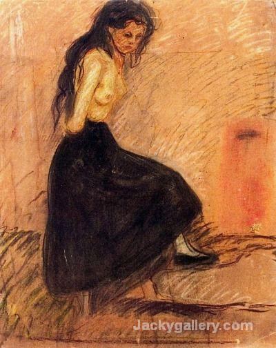 Half-Nude in a Black Skirt by Edvard Munch paintings reproduction