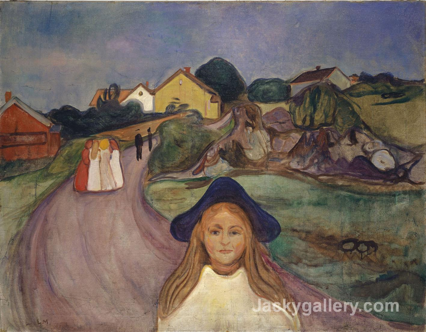 In aasgaardstrand Street by Edvard Munch paintings reproduction