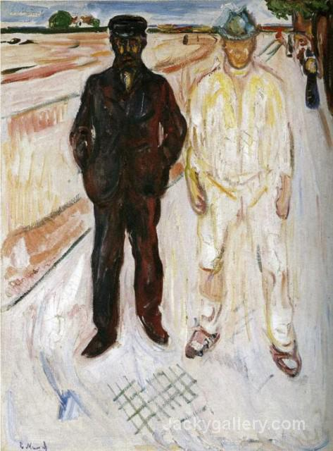 Mason and Mechanic by Edvard Munch paintings reproduction