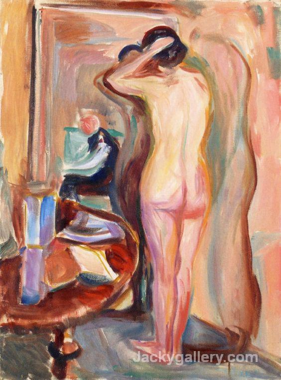 Nude in front of the Mirror by Edvard Munch paintings reproduction