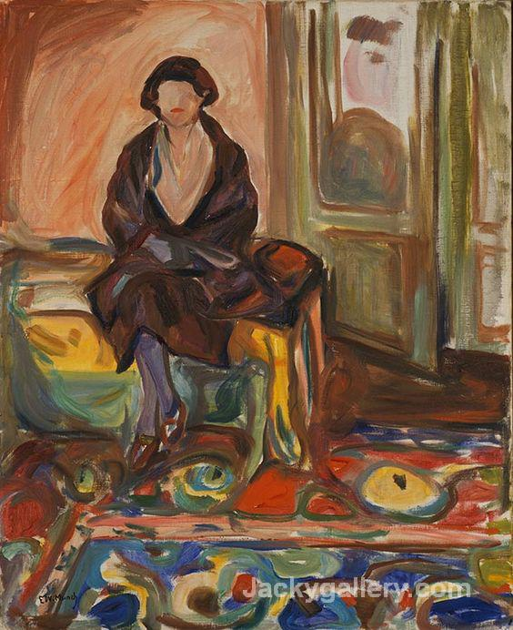 Seated on the Couch by Edvard Munch paintings reproduction