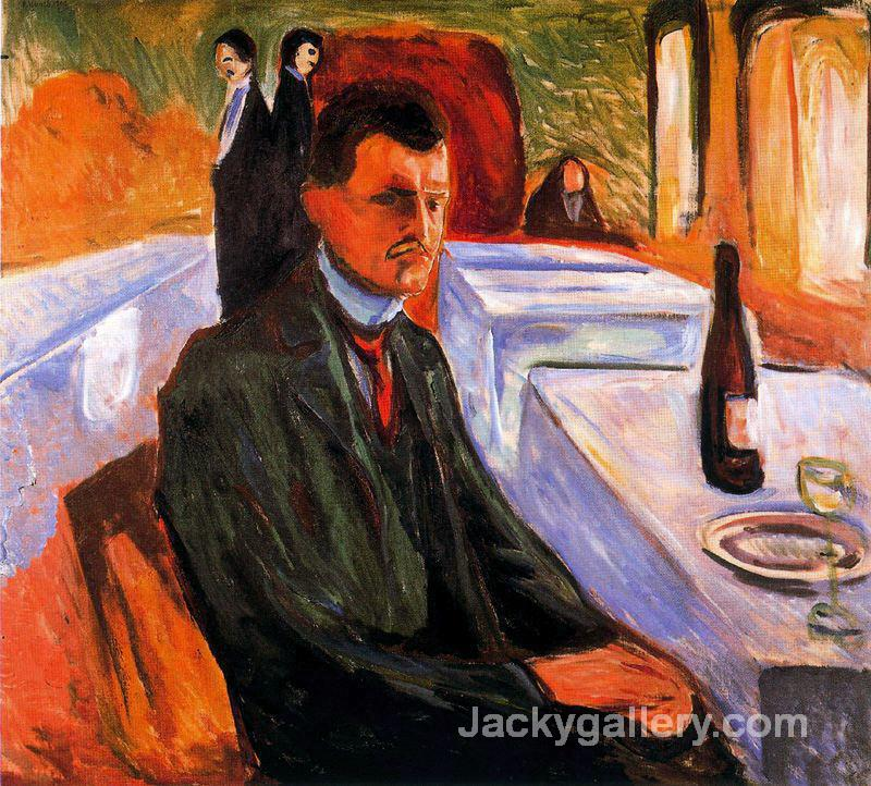 Self-portrait with bottle of wine by Edvard Munch paintings reproduction