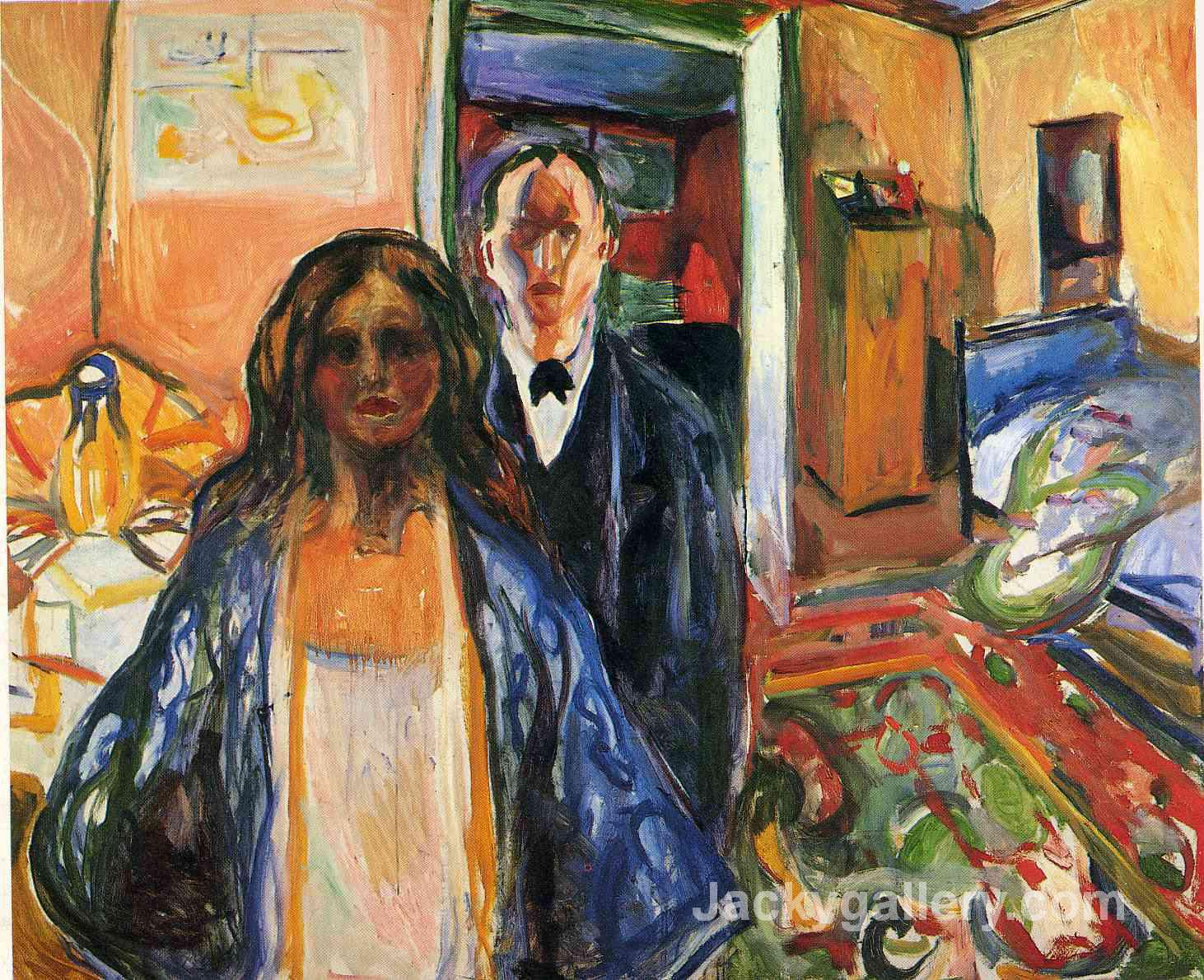 The Artist and His Model by Edvard Munch paintings reproduction