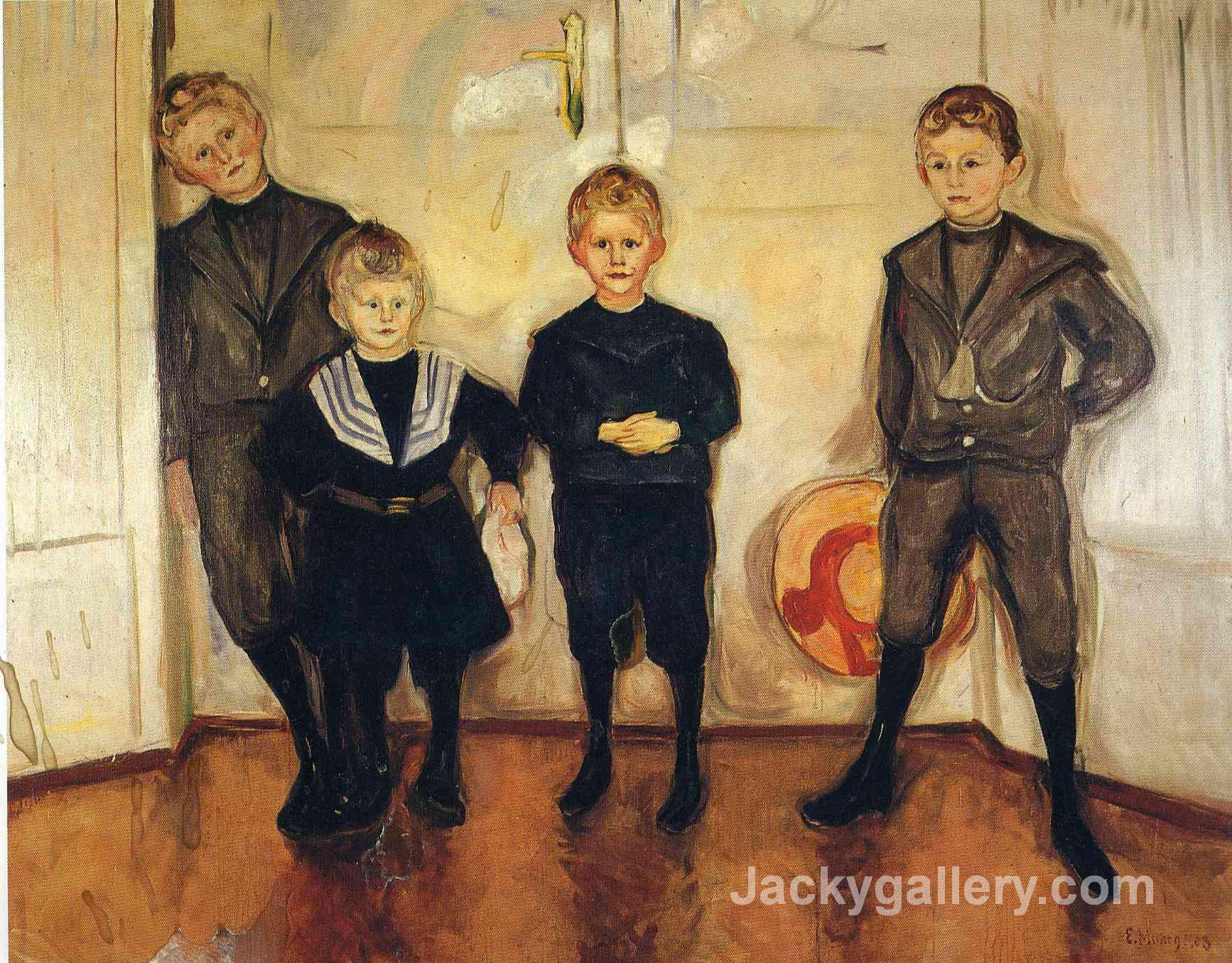 The Four Sons of Dr. Linde by Edvard Munch paintings reproduction