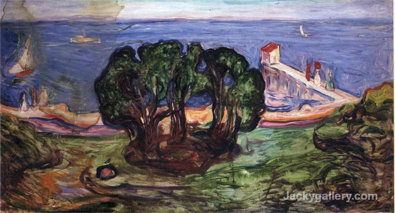 Trees on the Shore by Edvard Munch paintings reproduction