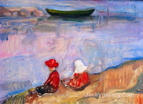 Two Children On the Beach by Edvard Munch paintings reproduction