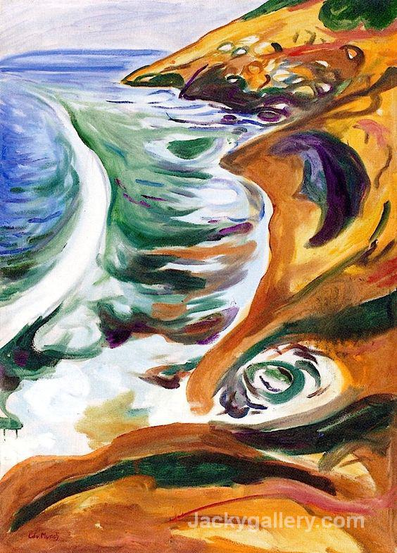 Waves Breaking on the Rocks by Edvard Munch paintings reproduction
