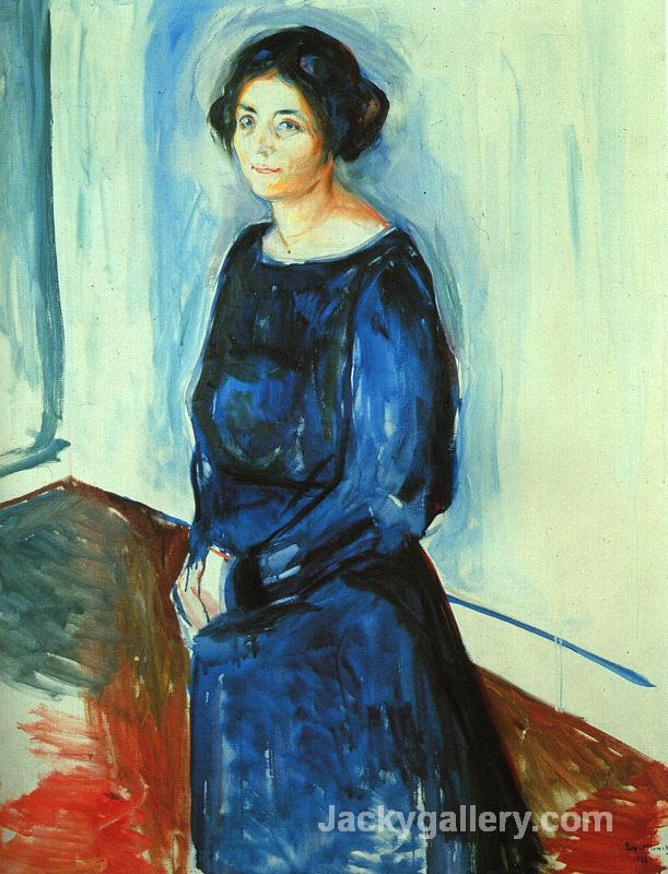 Woman in Blue (Frau Barth) by Edvard Munch paintings reproduction