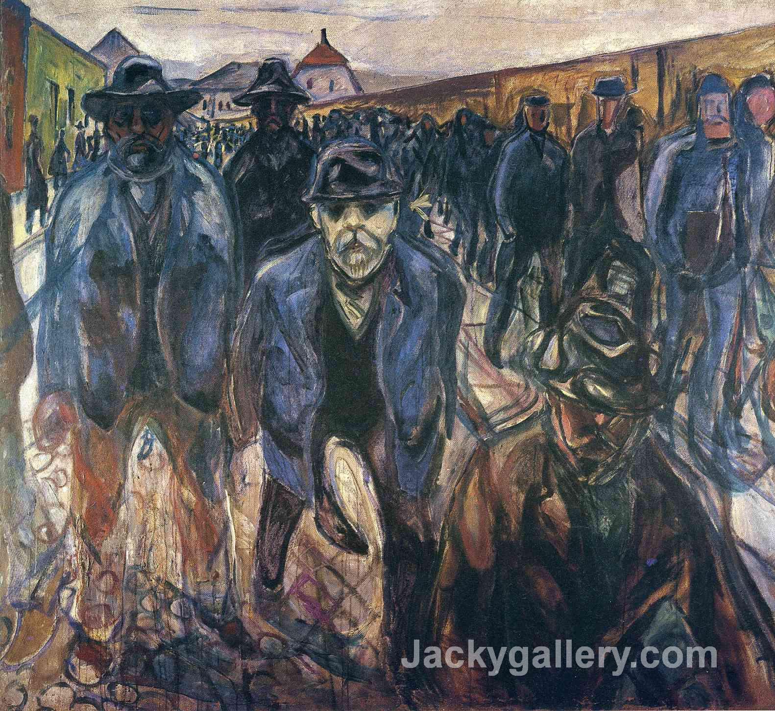 Workers on Their Way Home by Edvard Munch paintings reproduction