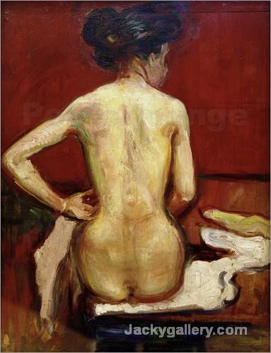 ack View of Sitting Female Nude with Red Background by Edvard Munch paintings reproduction