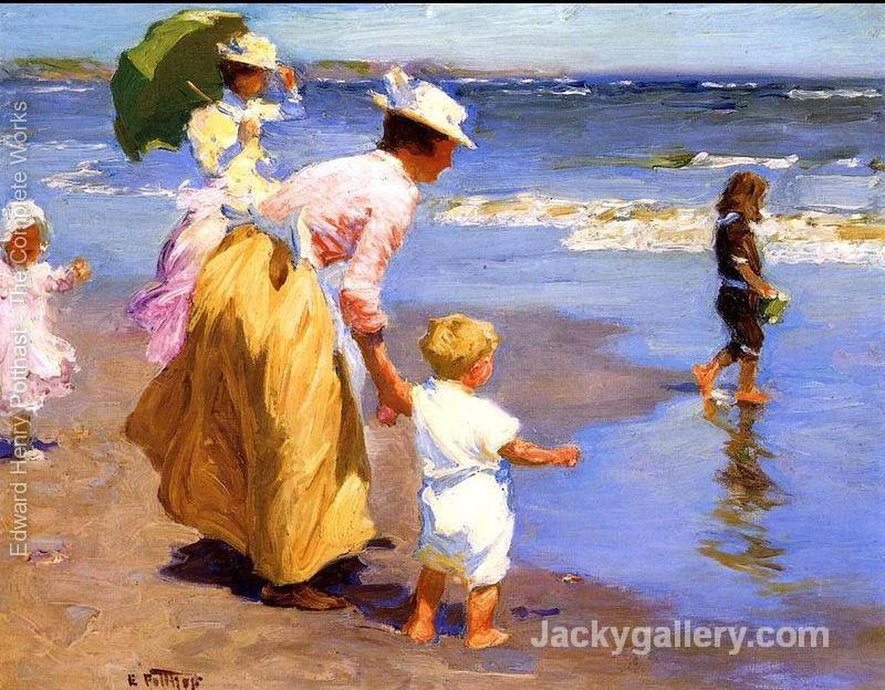 At the Beach mother and children by Edward Henry Potthast paintings reproduction