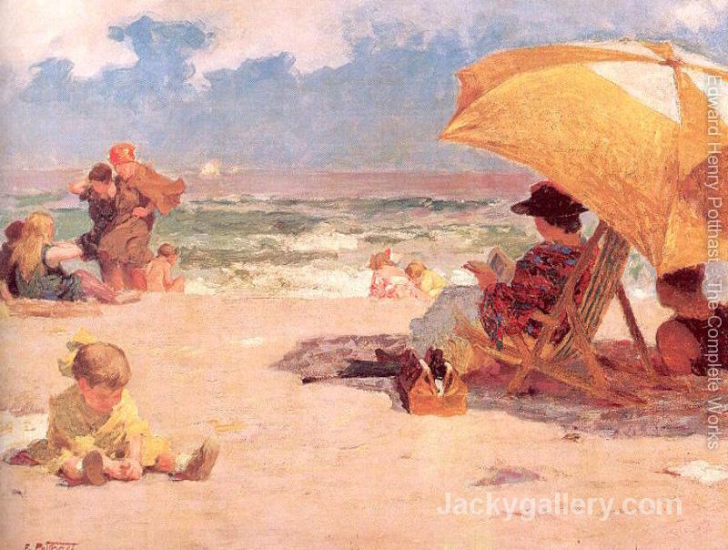 At the Seaside Mother by Edward Henry Potthast paintings reproduction