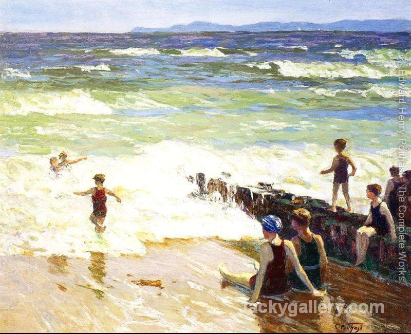 Bathers by the Shore by Edward Henry Potthast paintings reproduction