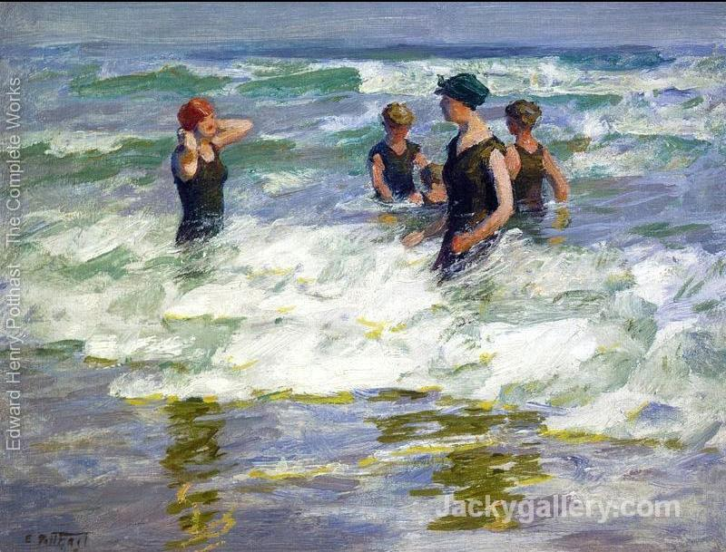 Bathers in the Surf I by Edward Henry Potthast paintings reproduction
