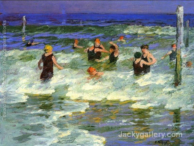 Bathing in the Surf by Edward Henry Potthast paintings reproduction