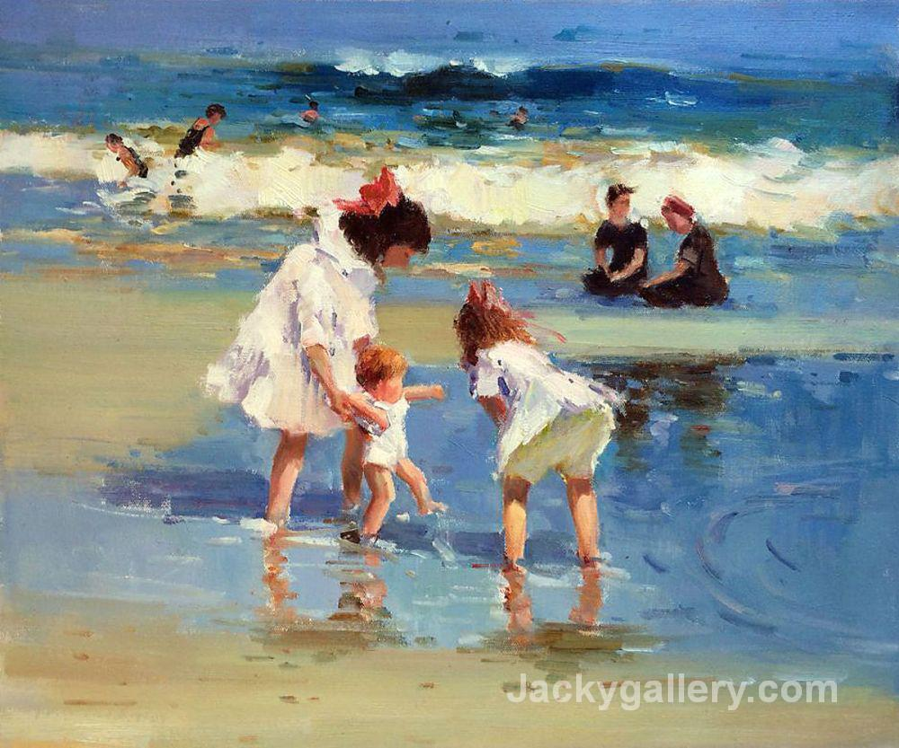 Children Playing at the Seashore Art by Edward Henry Potthast paintings reproduction