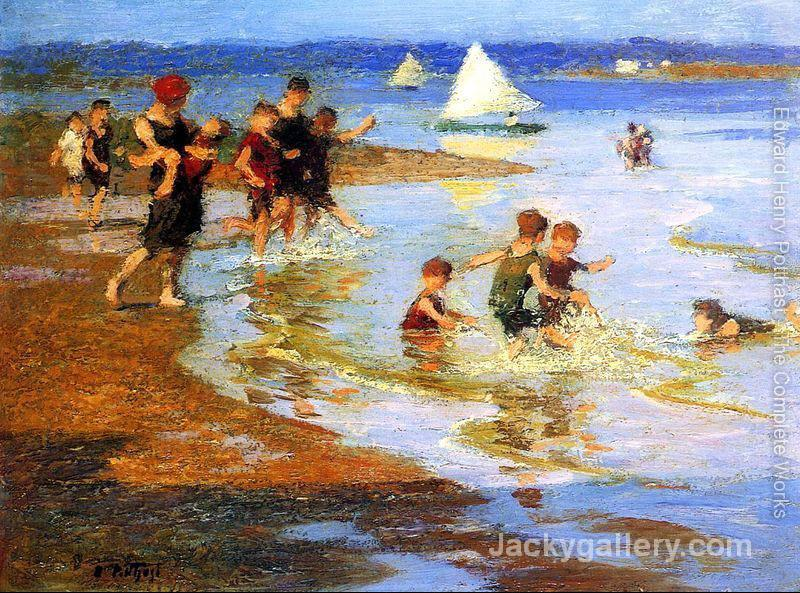 Children at Play on the Beach by Edward Henry Potthast paintings reproduction
