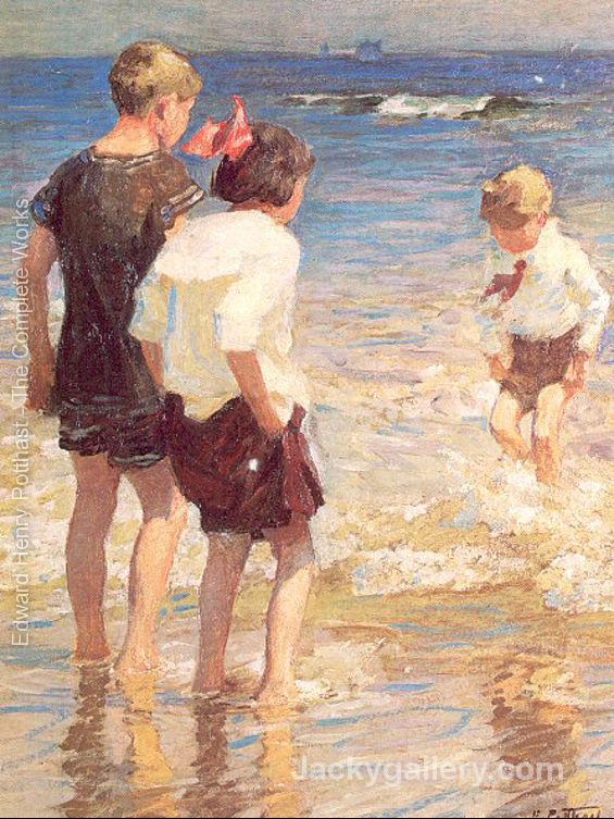 Children at Shore No. 3 by Edward Henry Potthast paintings reproduction