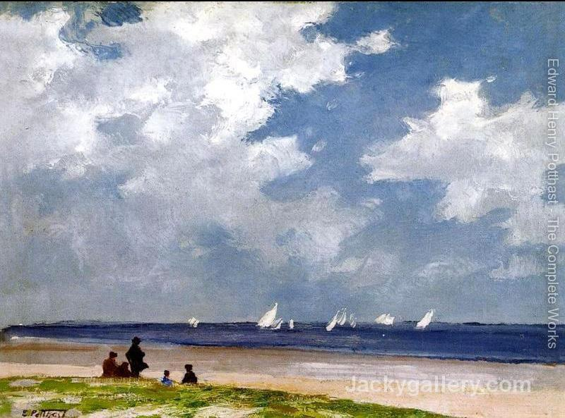 Sailboats off Far Rockaway by Edward Henry Potthast paintings reproduction