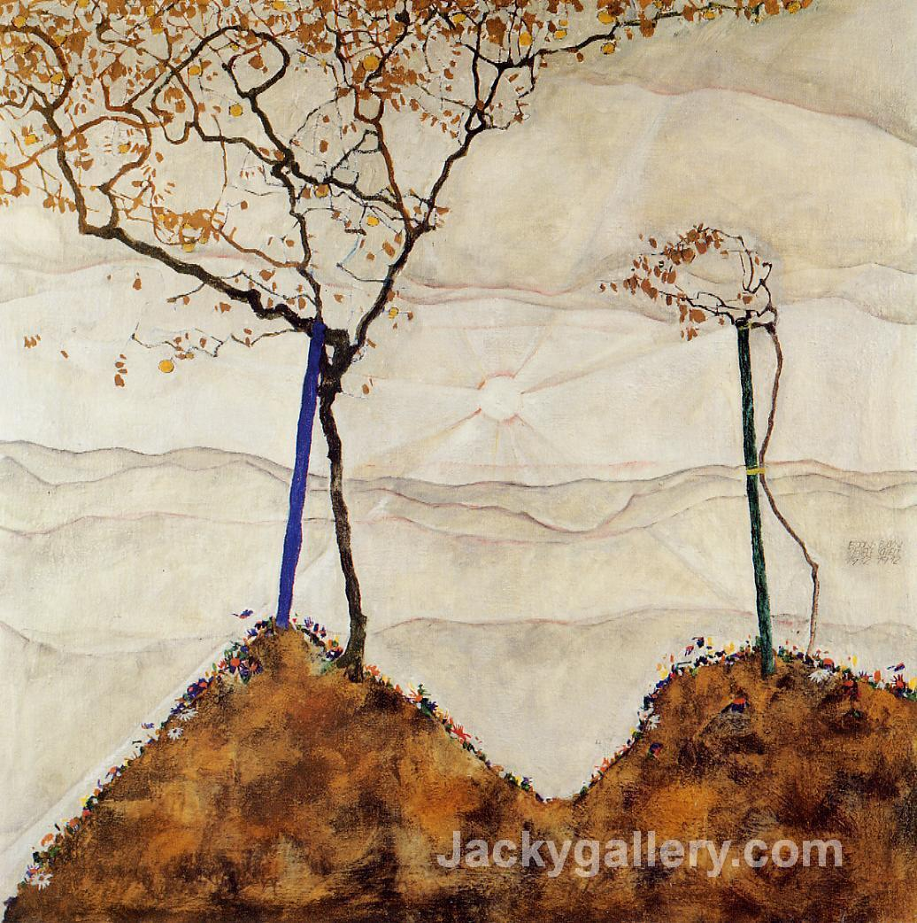 Autumn Sun by Egon Schiele paintings reproduction