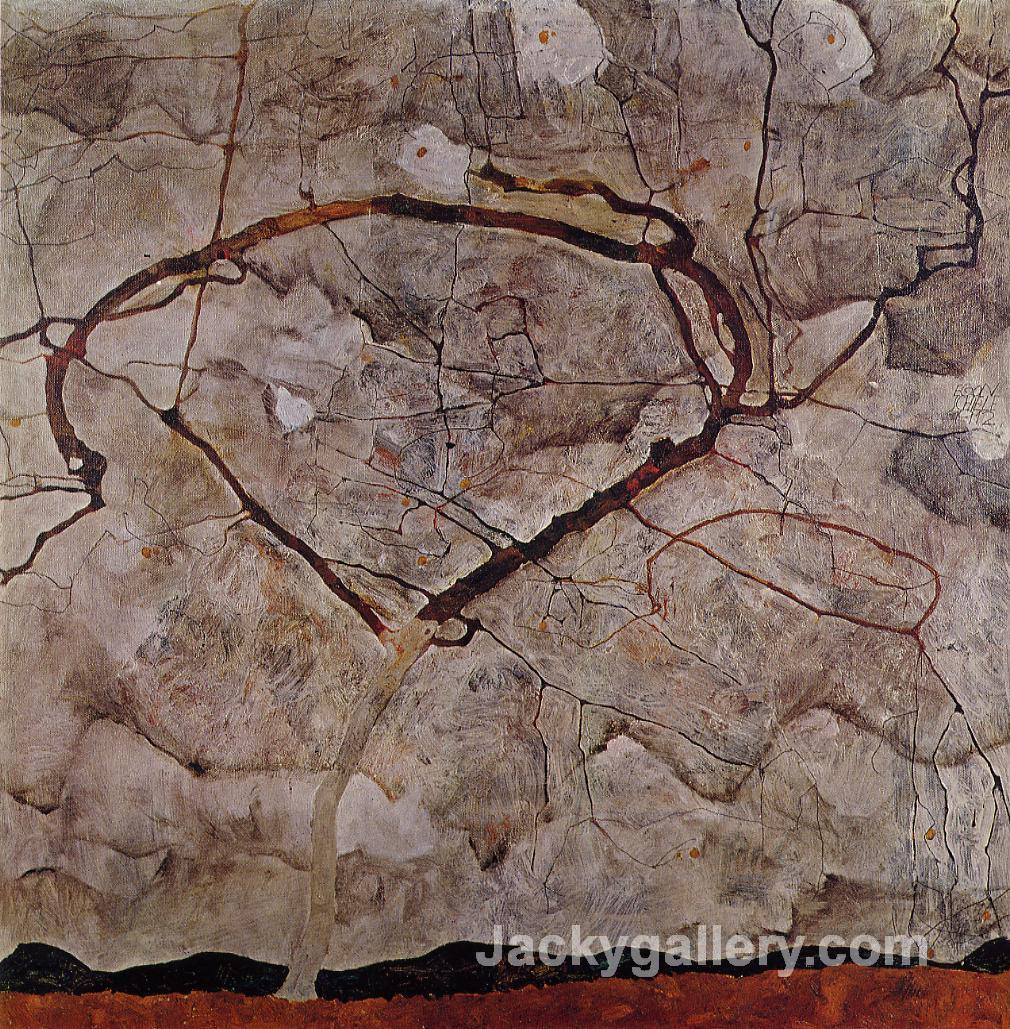 Autumn Tree in Movement by Egon Schiele paintings reproduction