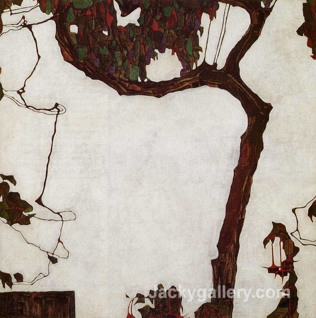 Autumn Tree with Fuchsias by Egon Schiele paintings reproduction