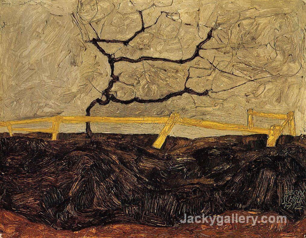 Bare Tree behind a Fence by Egon Schiele paintings reproduction
