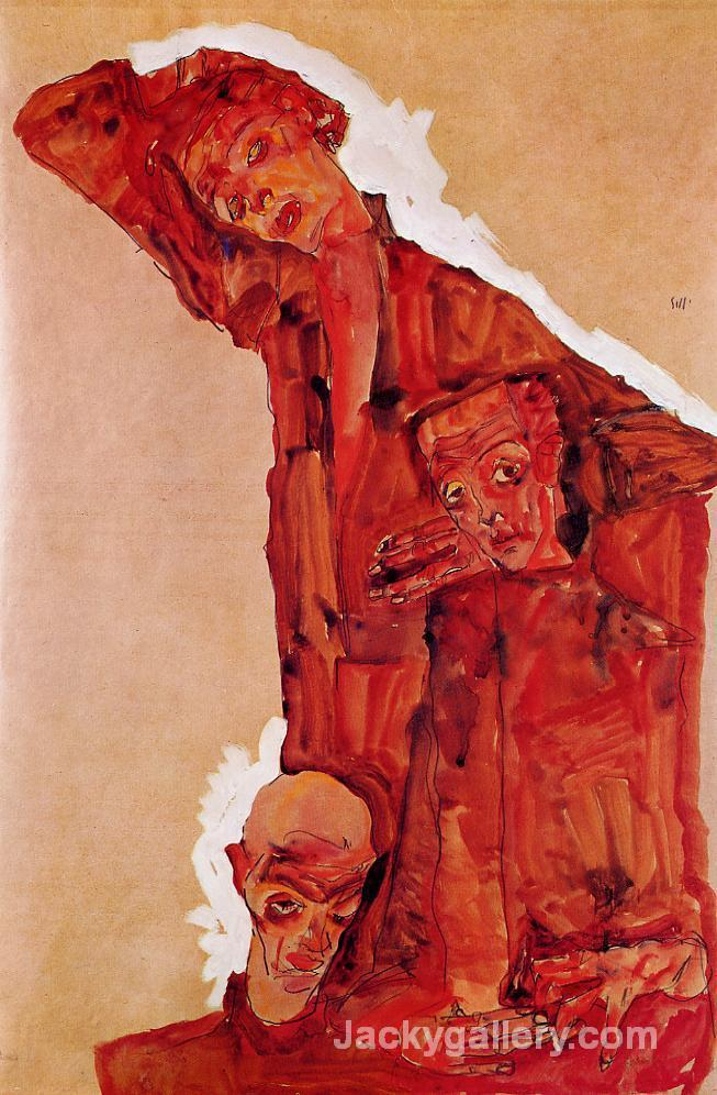 Composition with Three Male Figures (Self Portrait) by Egon Schiele paintings reproduction