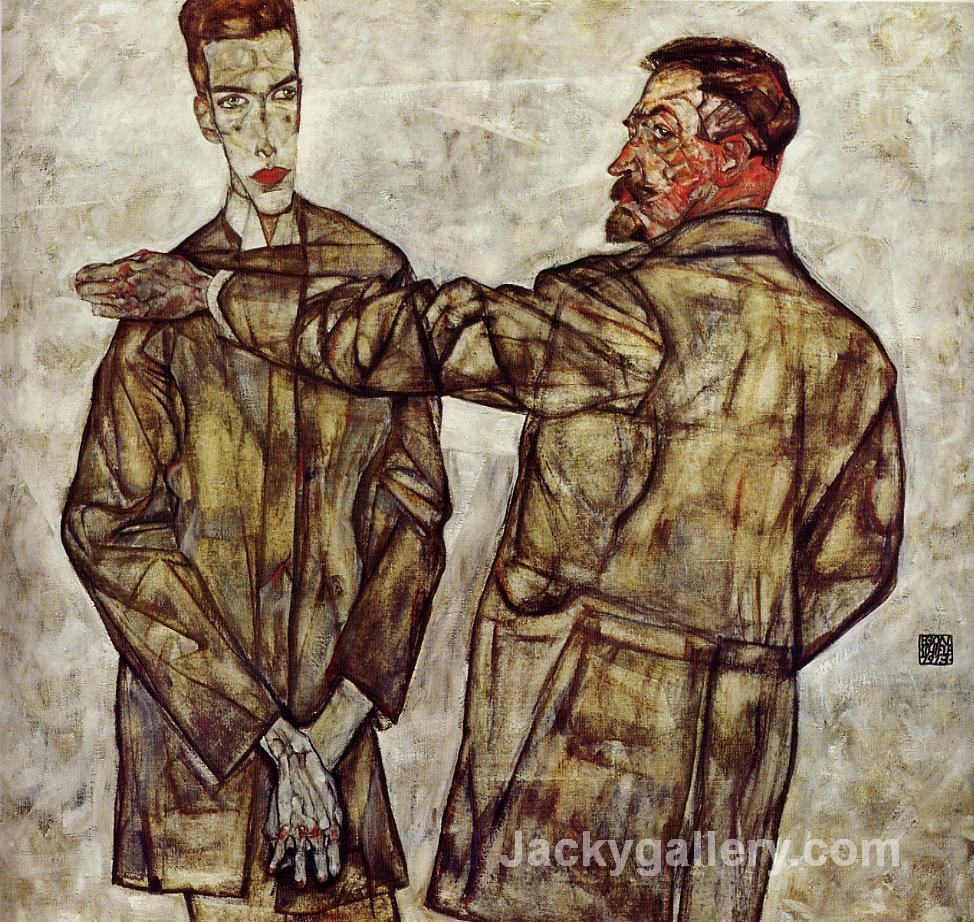 Double Portrait (Chief Inspector Heinrich Benesch and His Son Otto) by Egon Schiele paintings reproduction