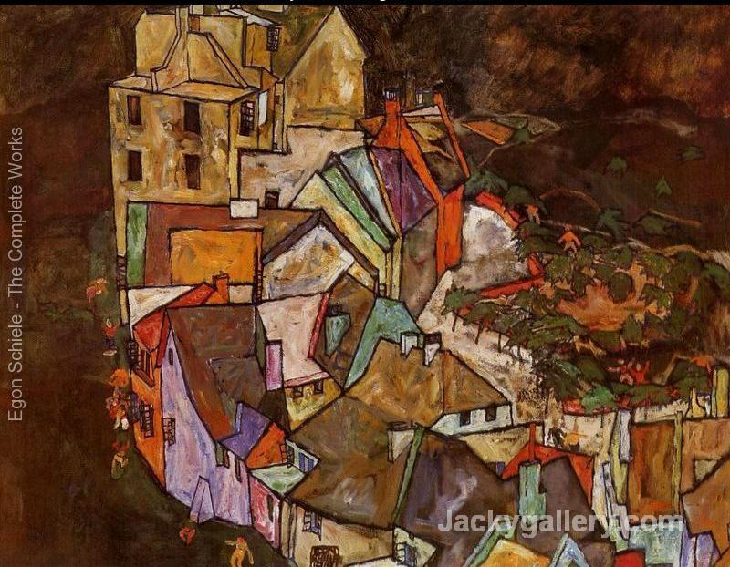 Edge Of Town Aka Krumau Town Crescent III by Egon Schiele paintings reproduction