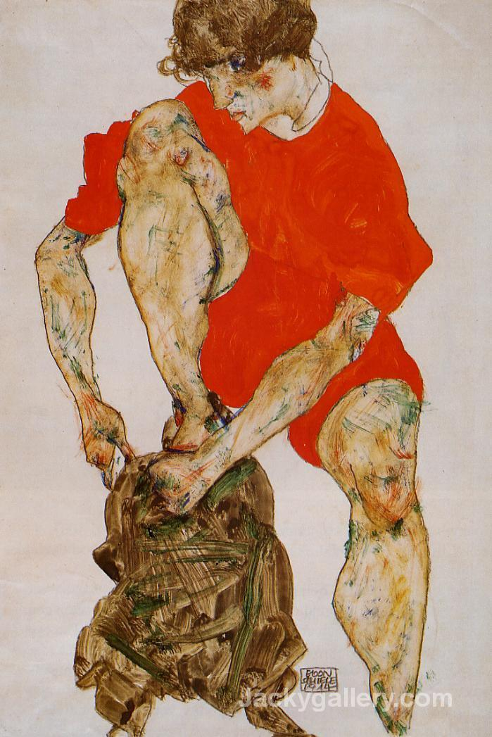 Female Model in Bright Red Jacket and Pants by Egon Schiele paintings reproduction