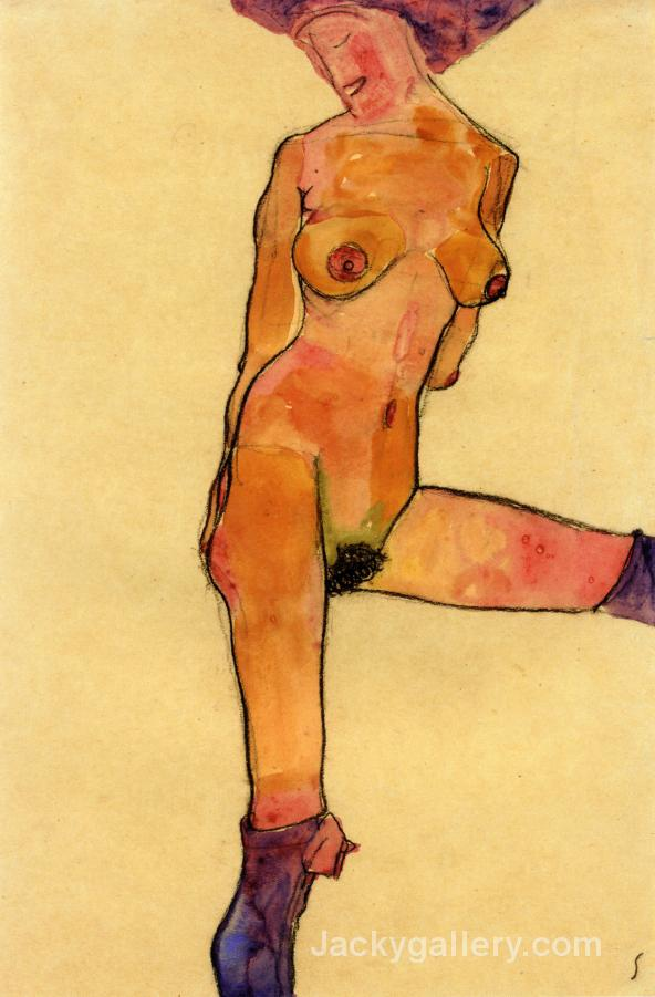 Female nude by Egon Schiele paintings reproduction