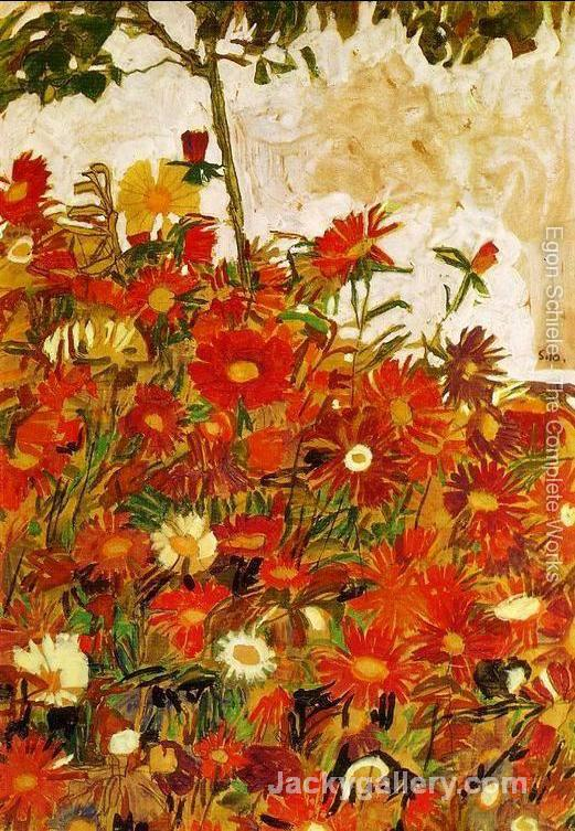 Field Of Flowers by Egon Schiele paintings reproduction