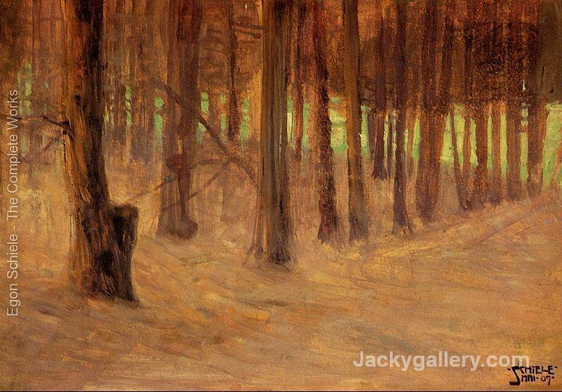 Forest With Sunlit Clearing In The Background by Egon Schiele paintings reproduction