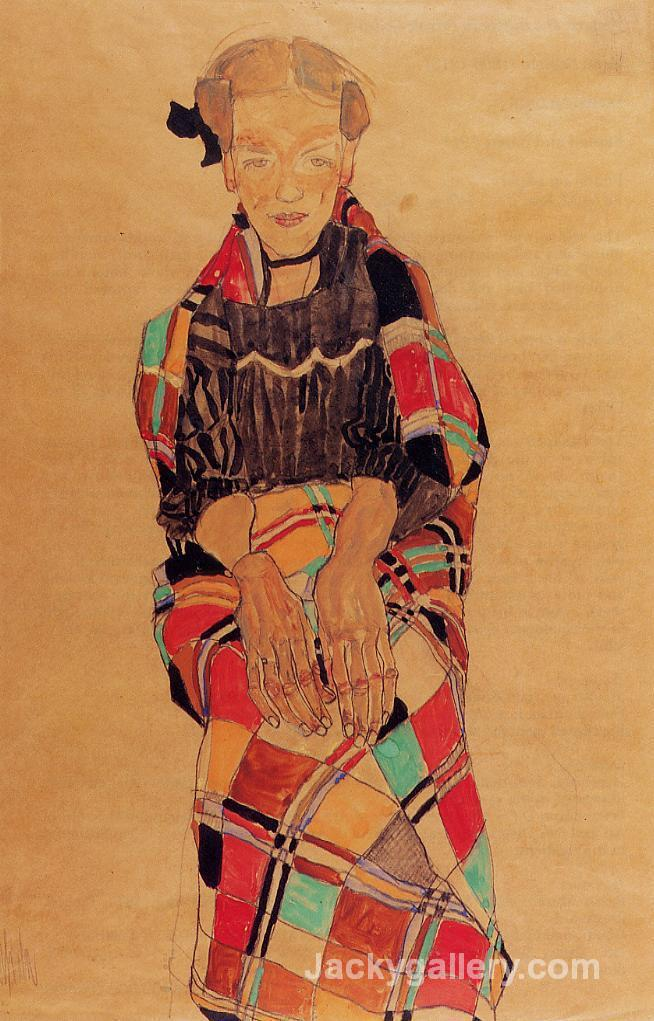 Girl in Black Pinafore, Wrapped in Plaid blanket by Egon Schiele paintings reproduction