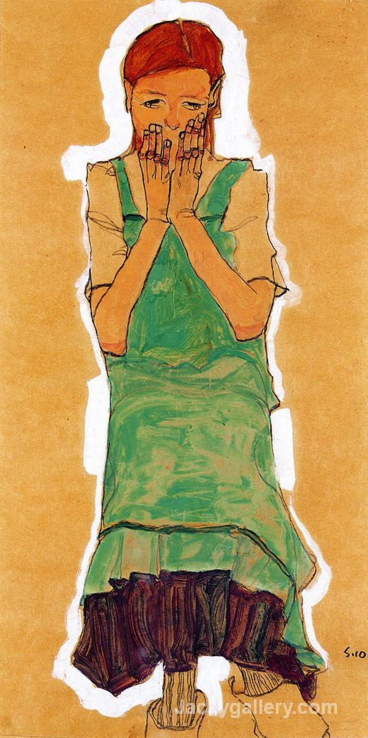 Girl with Green Pinafore by Egon Schiele paintings reproduction
