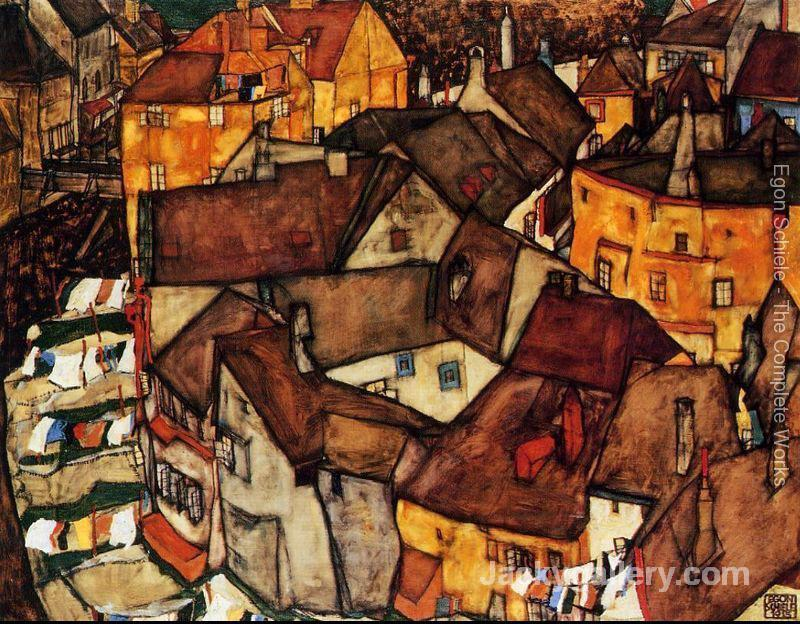Krumau Town Crescent I by Egon Schiele paintings reproduction