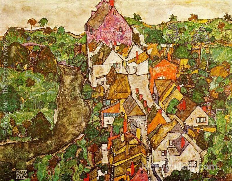 Landscape At Krumau by Egon Schiele paintings reproduction