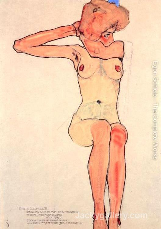 Nude woman hair dressing by Egon Schiele paintings reproduction