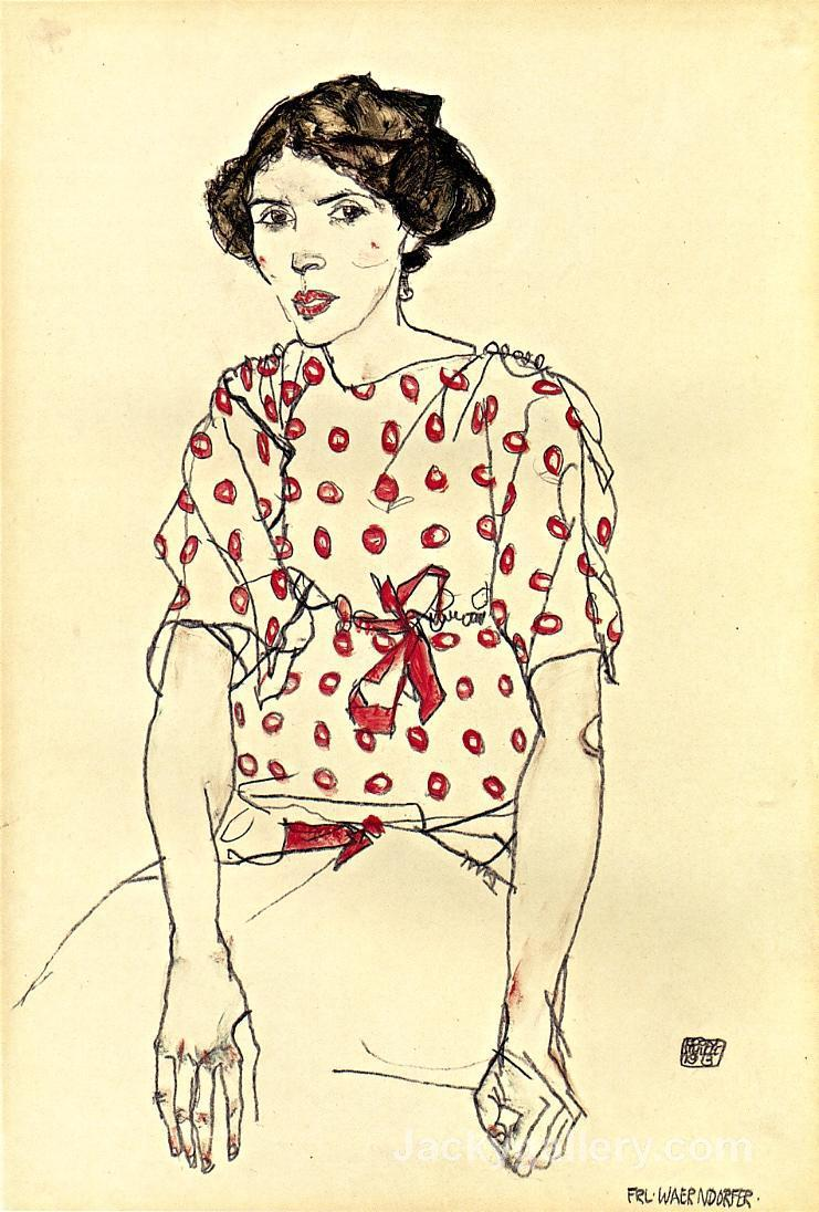 Portrait of Miss Waerndorfer by Egon Schiele paintings reproduction
