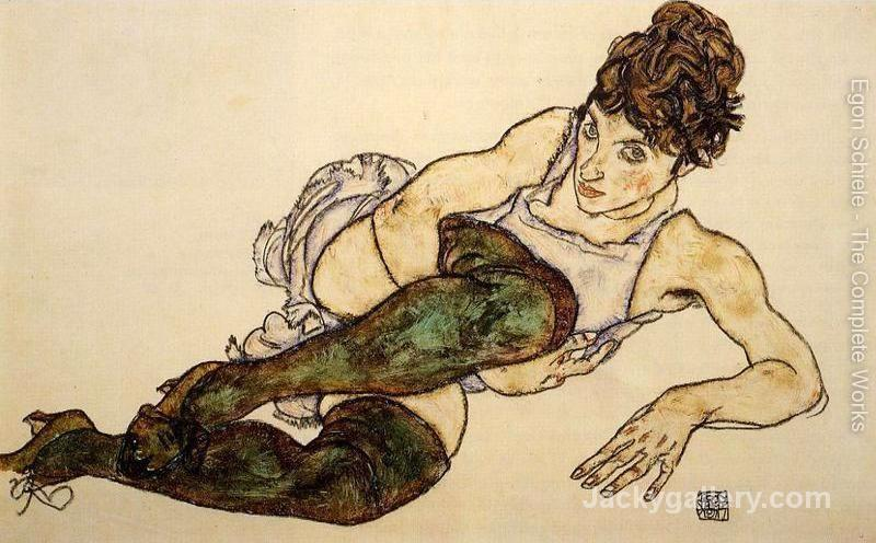 Reclining Woman With Green Stockings Aka Adele Harms by Egon Schiele paintings reproduction