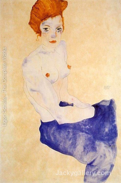 Seated Girl With Bare Torso And Light Blue Skirt by Egon Schiele paintings reproduction