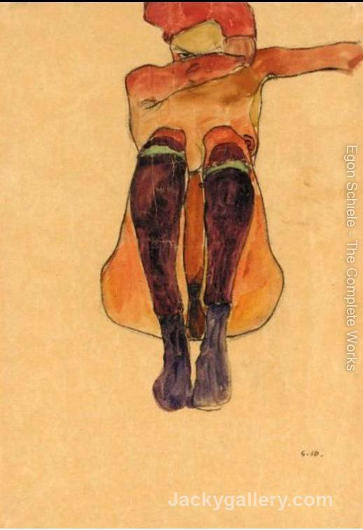 Seated Nude With Violet Stockings by Egon Schiele paintings reproduction