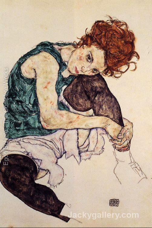 Seated Woman With Bent Knee by Egon Schiele paintings reproduction