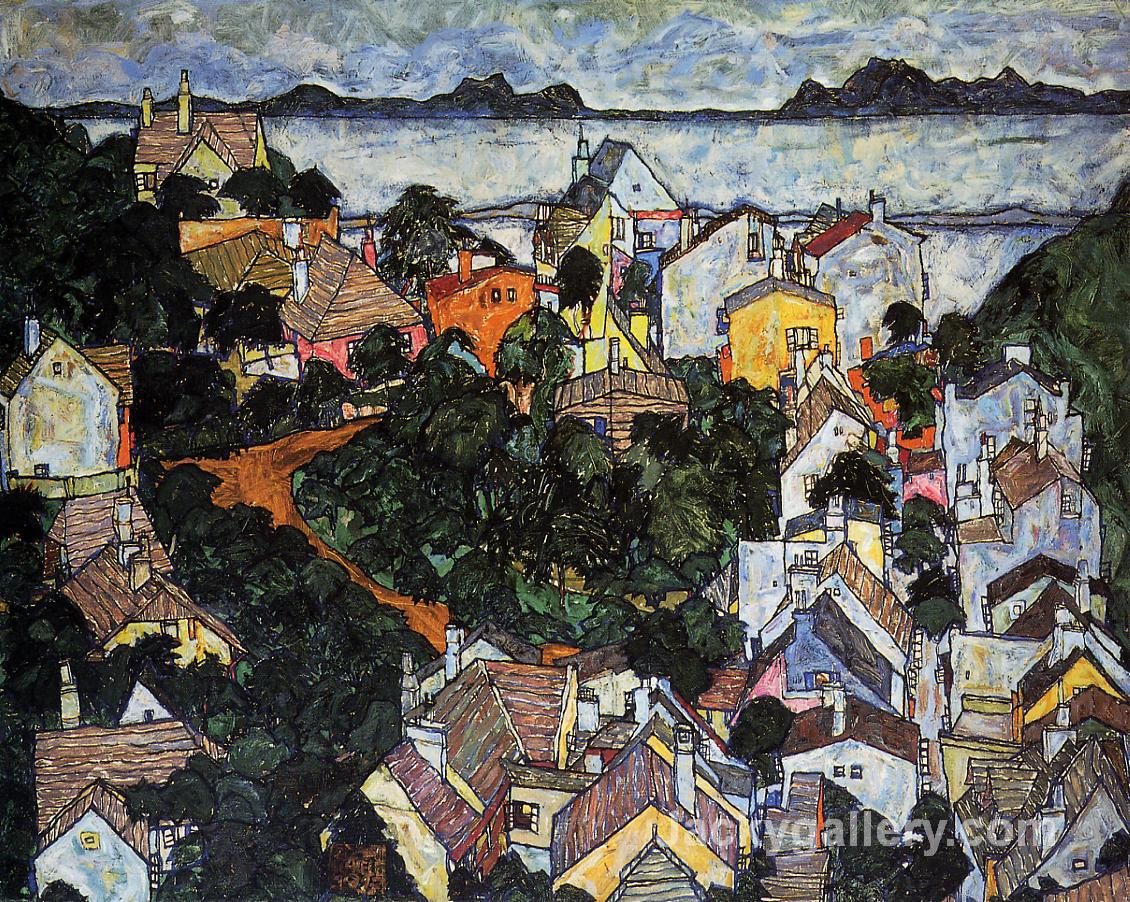 Summer Landscape, Krumau by Egon Schiele paintings reproduction